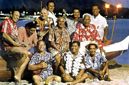 "Duke Kahanamoku and the Waikiki ""Beachboys"" at the Outrigger Canoe Club, Waikiki, Hawaii, 1963."